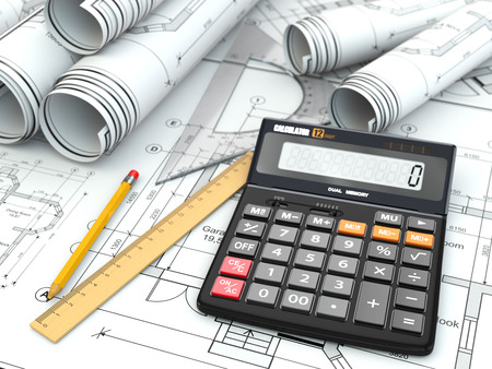 drafting tools: Concept of drawing. Blueprints, drafting tools and calculator. 3d