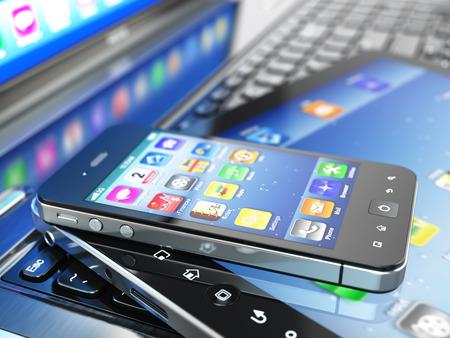 Dispositifs informatiques mobiles. Ordinateur portable, tablette PC et téléphone portable. 3d Banque d'images