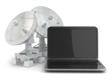 wifi internet: Concepto de internet inal�mbrico. Laptop y antena parab�lica. 3d