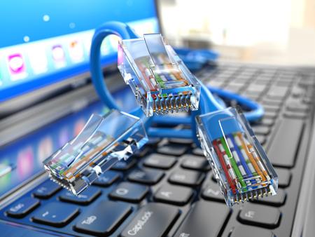 Internet concept. Laptop and ethernet cables. 3d