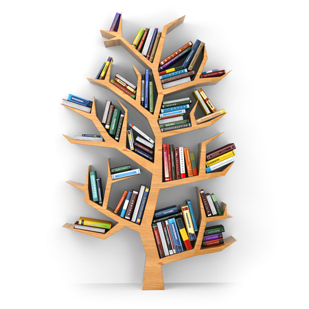 knowledge tree: Tree of knowledge. Bookshelf on white background. 3d