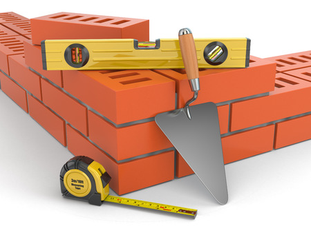 building bricks: Construction concept. Brick wall trowel and level, 3d