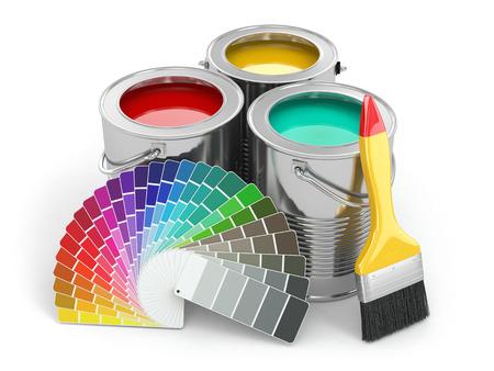 pintor: Latas de pintura con la paleta de colores y el pincel. 3d