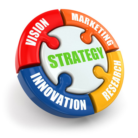 vision concept: Strategy is vision, research, marketing, innovation. 3d