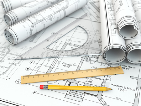 drafting: Concept of drawing. Blueprints and drafting tools. 3d Stock Photo