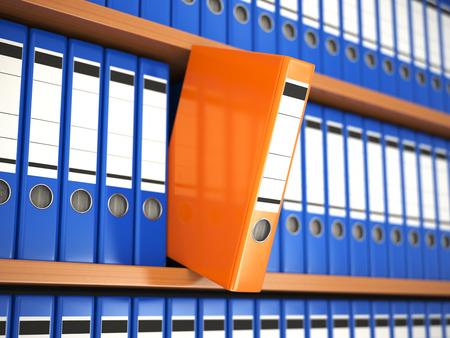 Office file binders on shelf. Archive. 3d