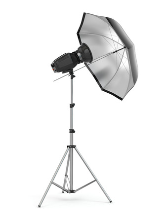 Studio strobe light flash with umbrella. 3d photo