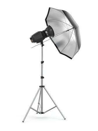 studio photography shot: Studio strobe light flash with umbrella. 3d