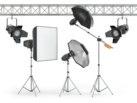 photography studio: Photo studio equipment  on white isolated background. 3d