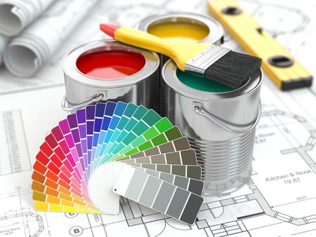 pintor de casas: Latas de pintura con la paleta de colores y el pincel. 3d