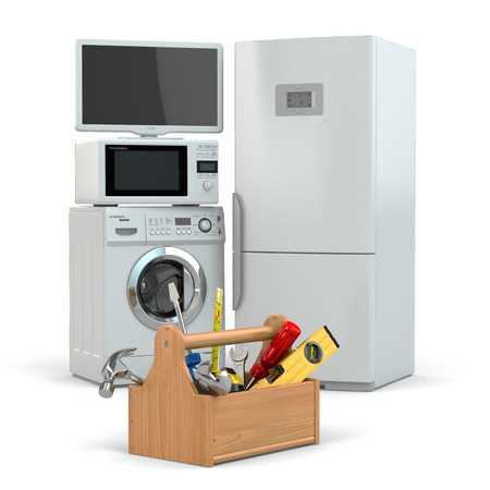 Toolbox and tv, refrigerator, washing machine, microwave oven. 3d photo