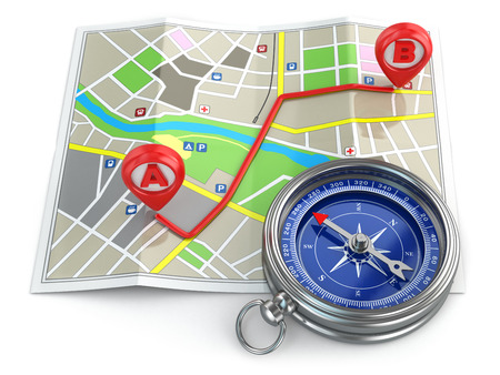Navigation and gps concept. Compass and map. 3d photo