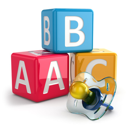 buzzword: Dummy or pacifier and buzzword blocks. 3d Stock Photo