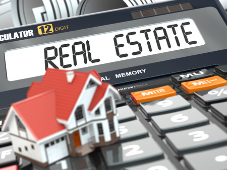 housing problems: Real estate concept. House on calculator. Mortgage. 3d Stock Photo
