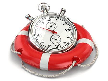 Fast first help. Stopwatch in lifebuoy on white isolated background. 3d photo