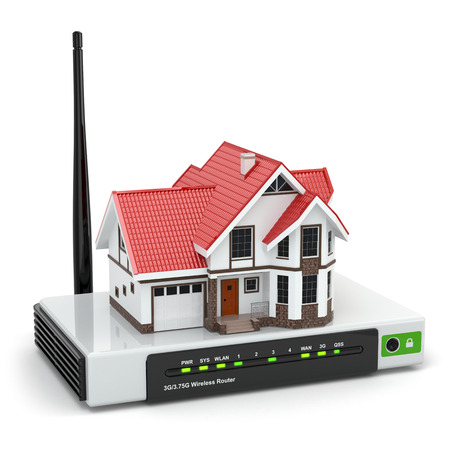 Home wireless network. House on wi-fi  router. 3d Stock Photo