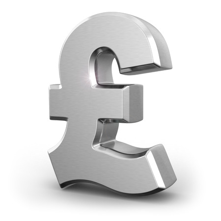 pound: Silver pound currency sign on white isolated background. 3d Stock Photo