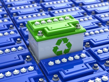 bateria: Reciclaje de baterías de coches. La energía verde. Antecedentes de los acumuladores. 3d