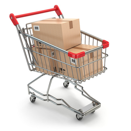Shopping cart with boxes on white isolated background. 3d
