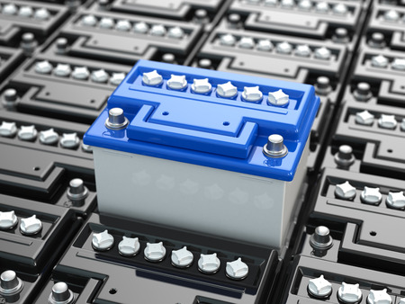 accu: Car batteries background. Blue accumulators. Three-dimensional image. 3d