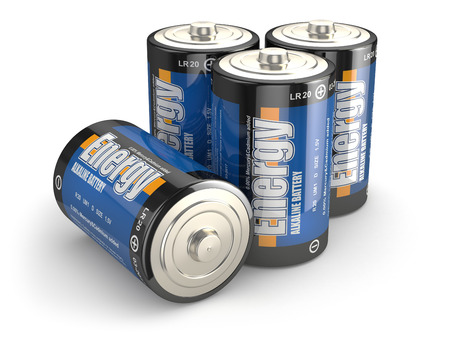 cadmium: Four batteries on white isloted background. 3d