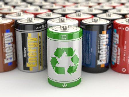 electronic components: Battery green recycling concept. Batteries on white isolated background. 3d
