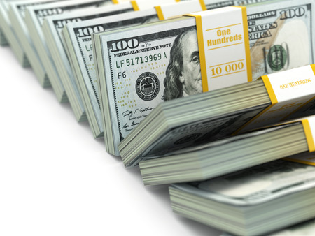 money packs: Row of packs of dollars. Lots of cash money. 3d