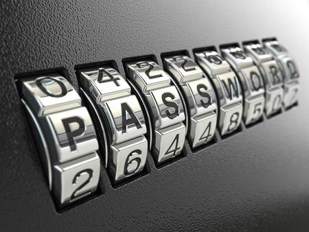 Beveiliging wachtwoord combinatie concept, Drie-dimensionaal beeld. 3d