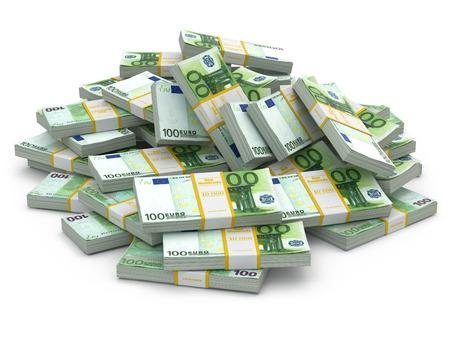 money packs: Heap of packs of euro. Lots of cash money. 3d