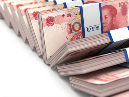 money packs: Row of packs of yuan. Lots of cash money. 3d Stock Photo