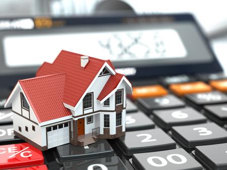 Realitní koncepce. Dům na kalkulačce. Hypotéka. 3d Reklamní fotografie