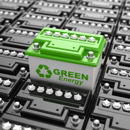 charging: Car battery recycling. Green energy. Background from accumulators. 3d