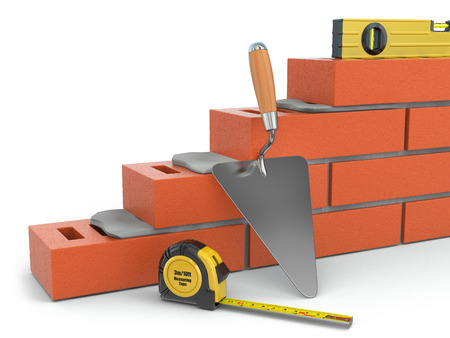 brick work: Construction concept. Brick wall trowel and level, 3d