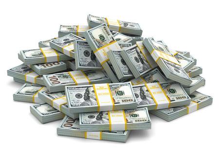 ドルのパックのヒープ。多くの現金 money.3d 写真素材