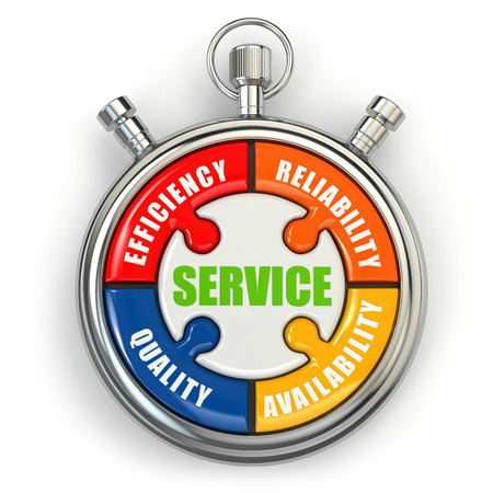 computer service: Service puzzle on white background. Conceptual three-dimensional image.