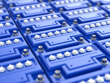 Car batteries background. Blue accumulators. Three-dimensional image. 3d