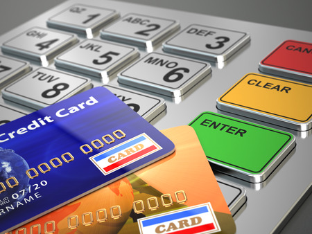 pin entry: ATM machine keypad with credit cards. 3d Stock Photo