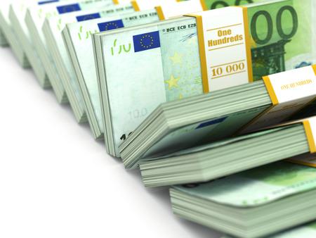 money packs: Row of packs of euro. Lots of cash money. 3d