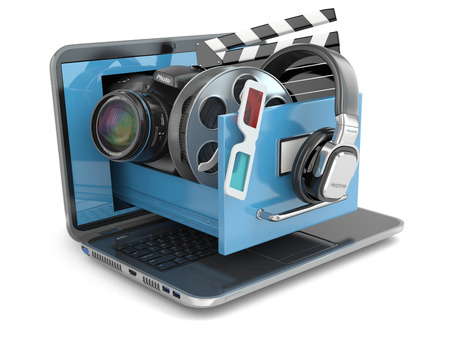 multimedia: Multimedia concept. Laptop, camera , headphones and video attributes. 3d Stock Photo