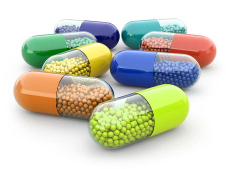 vitamin pill: Pills and drugs on white isolated bacground. Medical concept. 3d