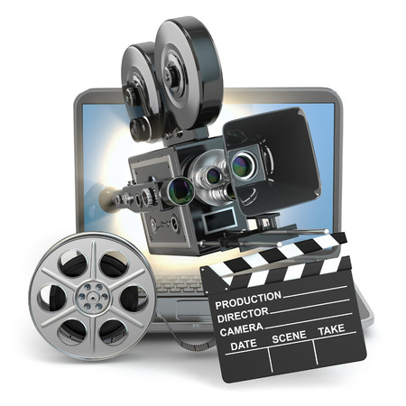 handycam: Video concept. Camera on  laptop, still reels and clapboard. 3d