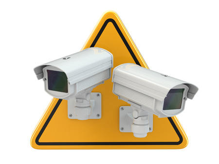 paranoia: CCTV Camera. Video surveillance sign on white isolated background. 3d
