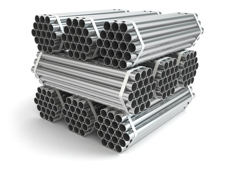 exhaust pipe: Metal pipes. Steel industry . Three-dimensional image, 3d