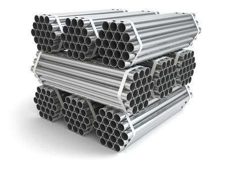 steel industry: Metal pipes. Steel industry . Three-dimensional image, 3d