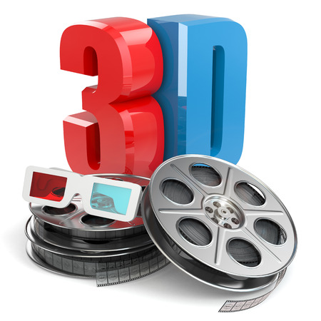 editing: 3D movie concept. Film reels and glasses.