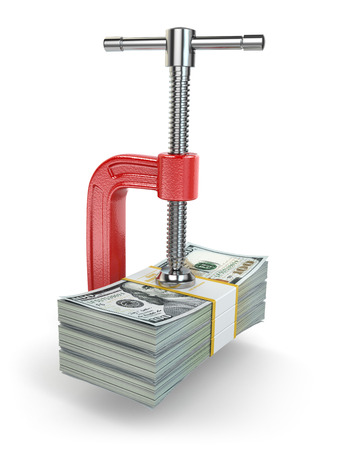 Crisis. concept of reducing costs. Vise and dollars. 3d photo
