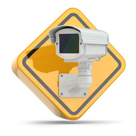 monitored area: CCTV Camera. Video surveillance sign on white isolated background. 3d