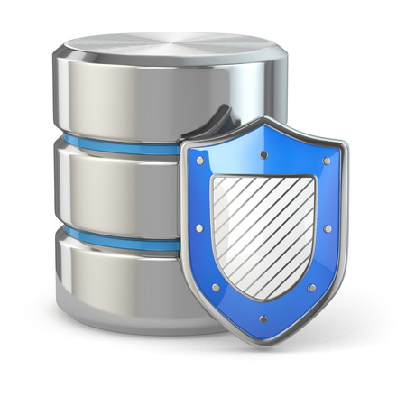 Data security. Database and shield on white isolated background. 3d photo