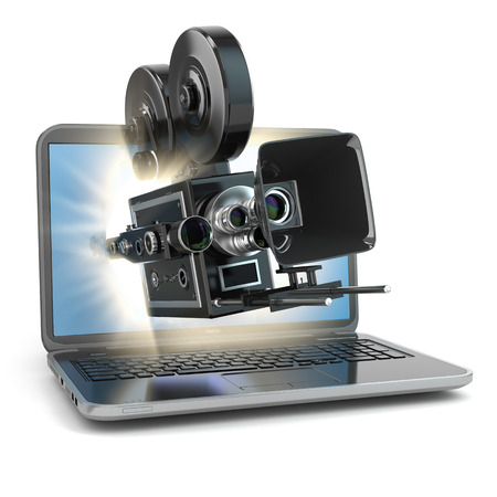 Video concept. Retro camera and  laptop. 3d Stock Photo
