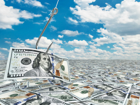 fishhook: Dollar and fish-hook on cloudscape. Financial concept.. 3d